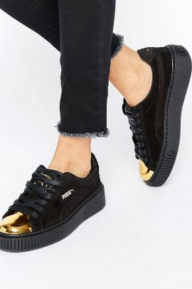 Puma Suede Platform Sneakers In Black With Gold Toe Cap 1