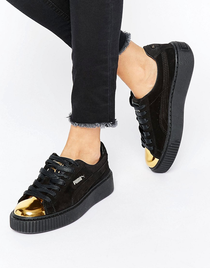 a64108b8524 Puma Suede Platform Sneakers In Black With Gold Toe Cap 1 ...