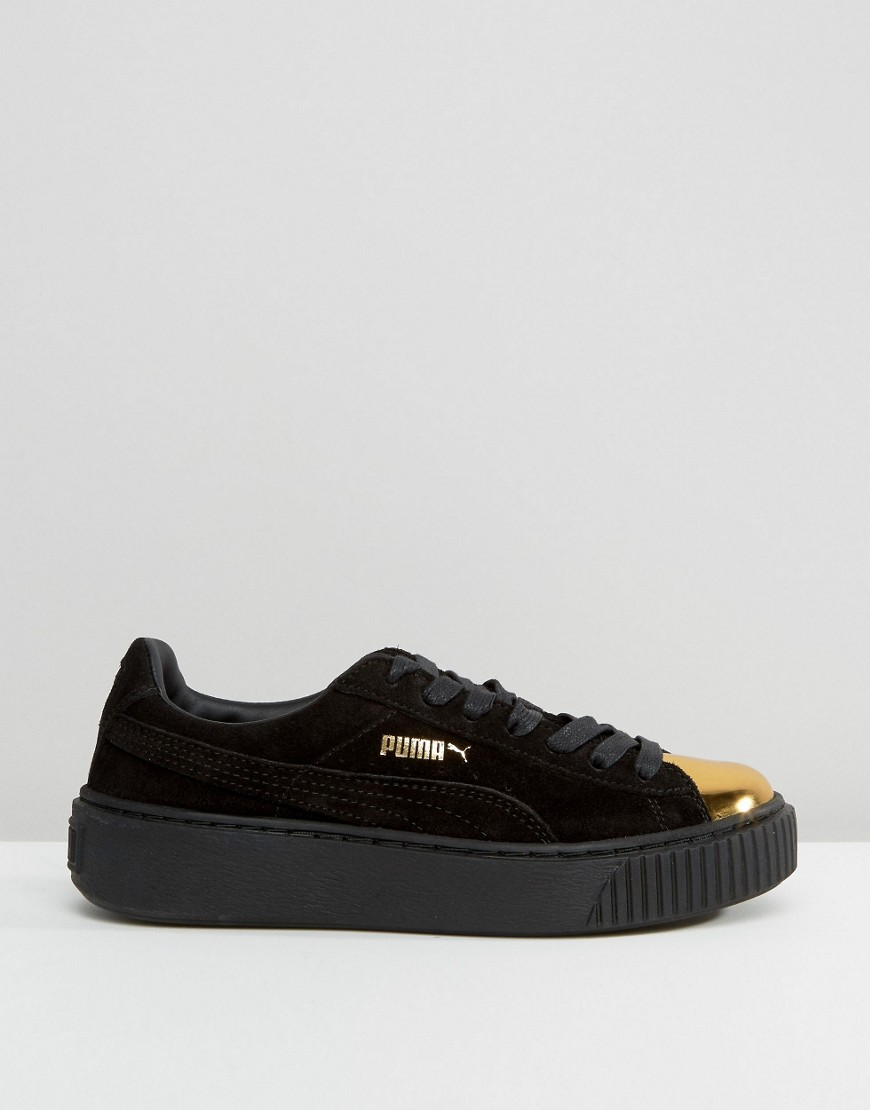 78496cfca0e ... Puma Suede Platform Sneakers In Black With Gold Toe Cap 2