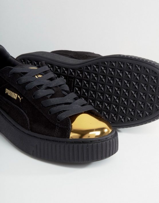 Puma Suede Platform Sneakers In Black With Gold Toe Cap 4