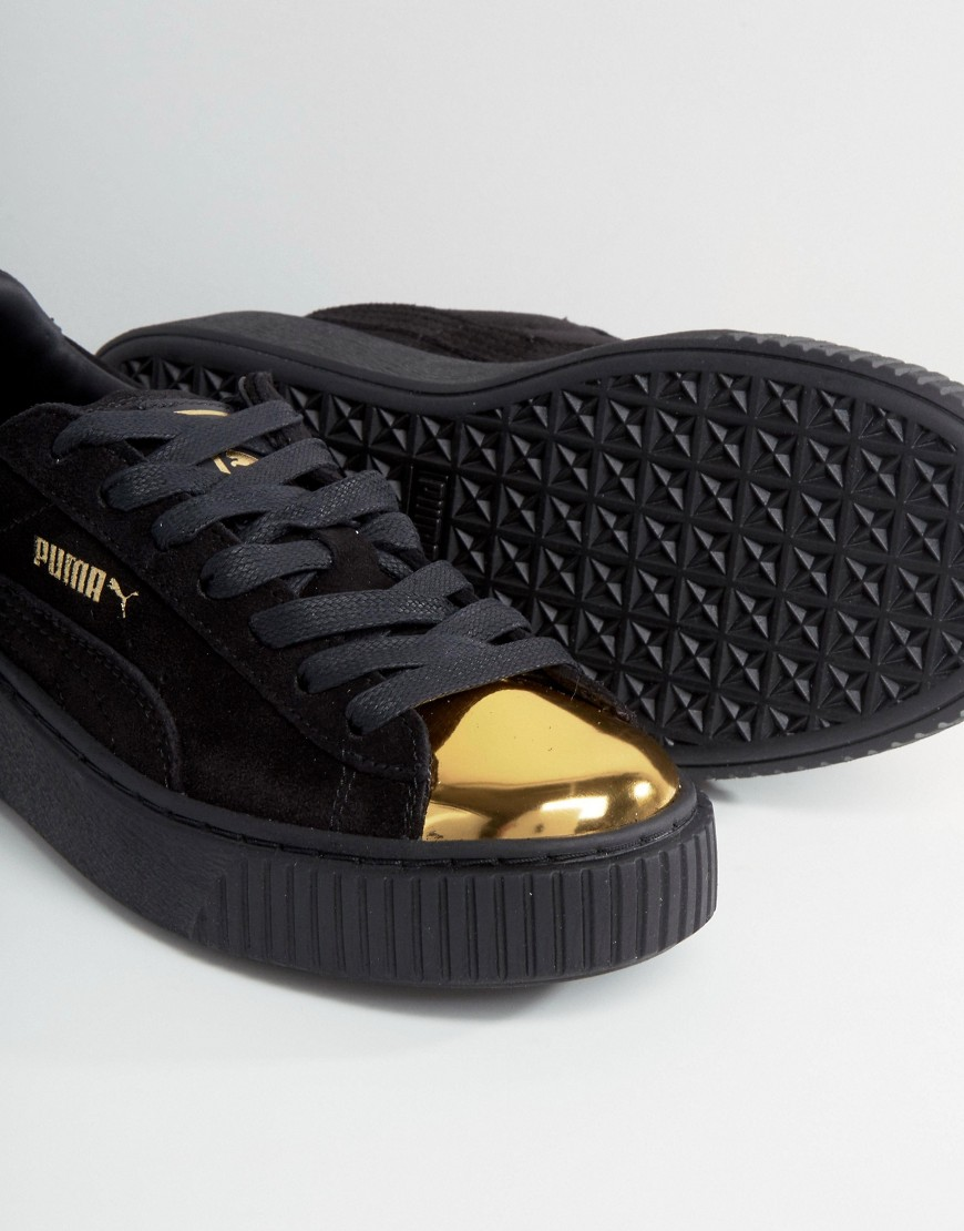643fb37a52b ... Puma Suede Platform Sneakers In Black With Gold Toe Cap 4 ...