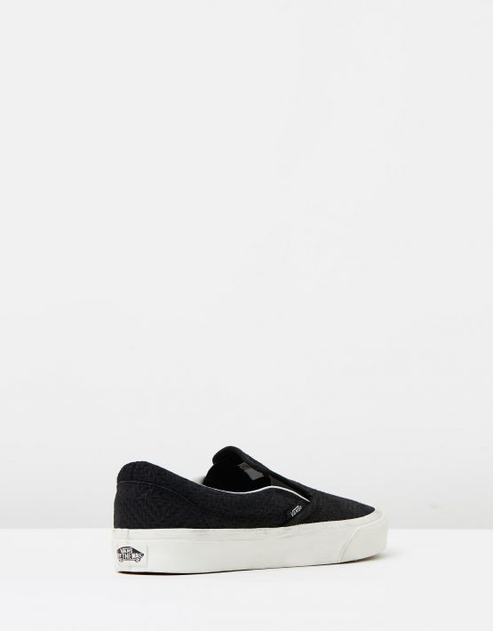 Vans Womens Classic Slip On Black Suede Trainers 2