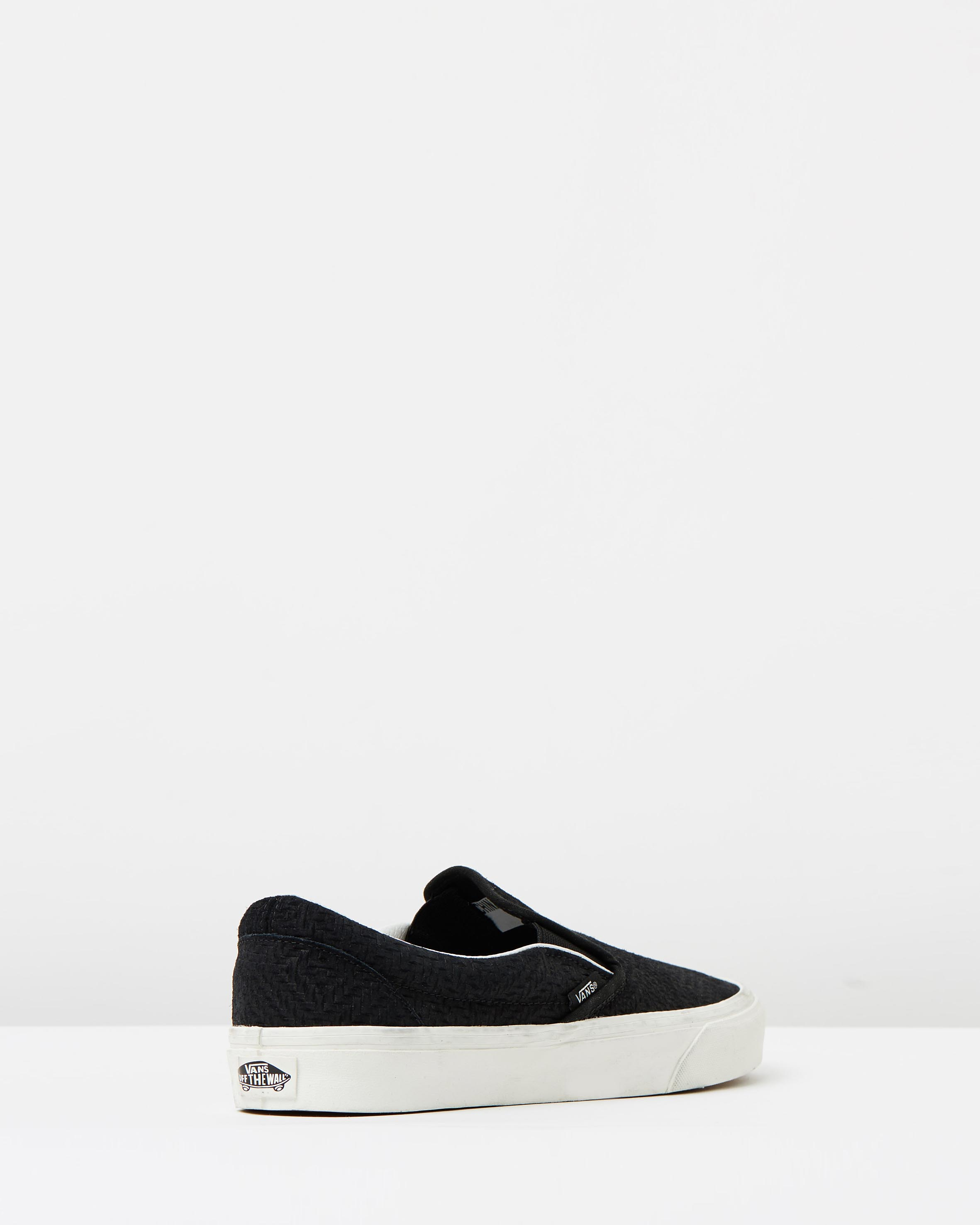 cd90cc70a6 ... Vans Womens Classic Slip On Black Suede Trainers 2 ...