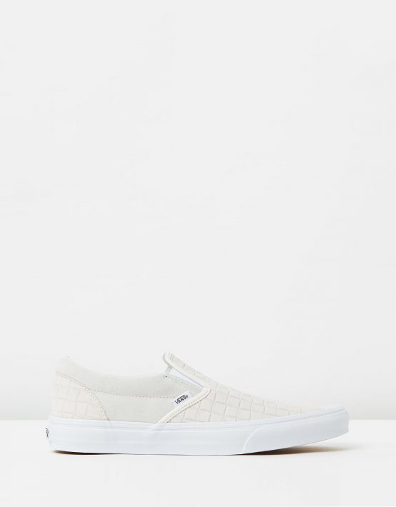 Vans Womens Classic Slip On Suede Checkers Blanc De Blanc 1