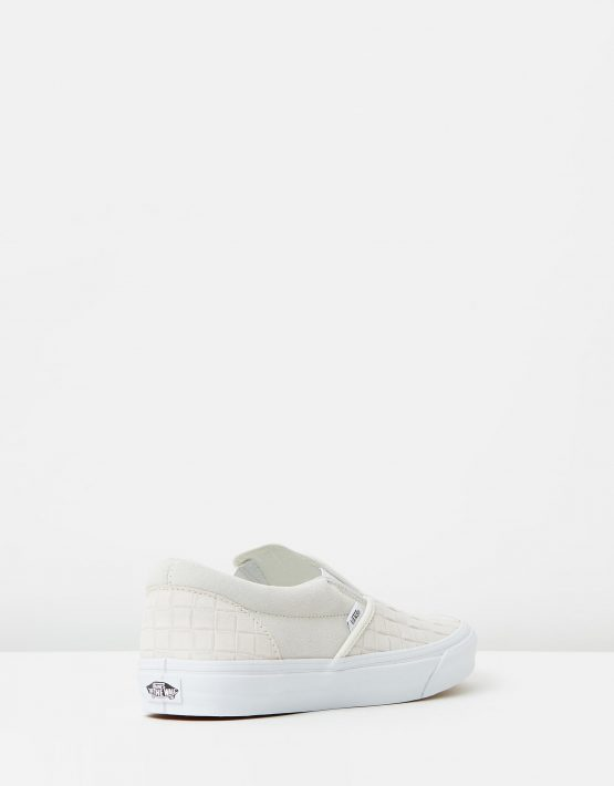 Vans Womens Classic Slip On Suede Checkers Blanc De Blanc 2