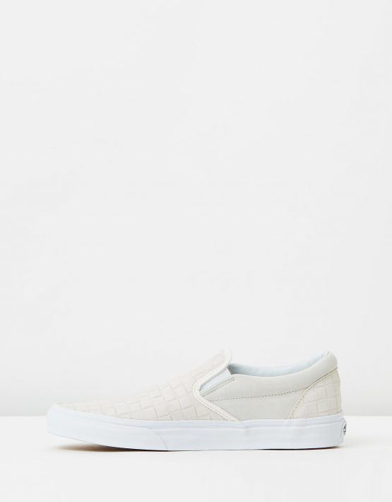 Vans Womens Classic Slip On Suede Checkers Blanc De Blanc 3