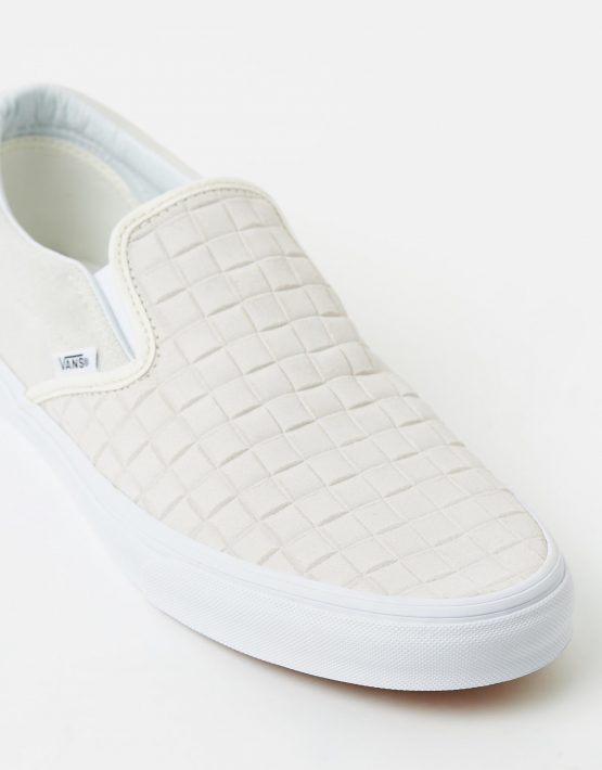 Vans Womens Classic Slip On Suede Checkers Blanc De Blanc 4