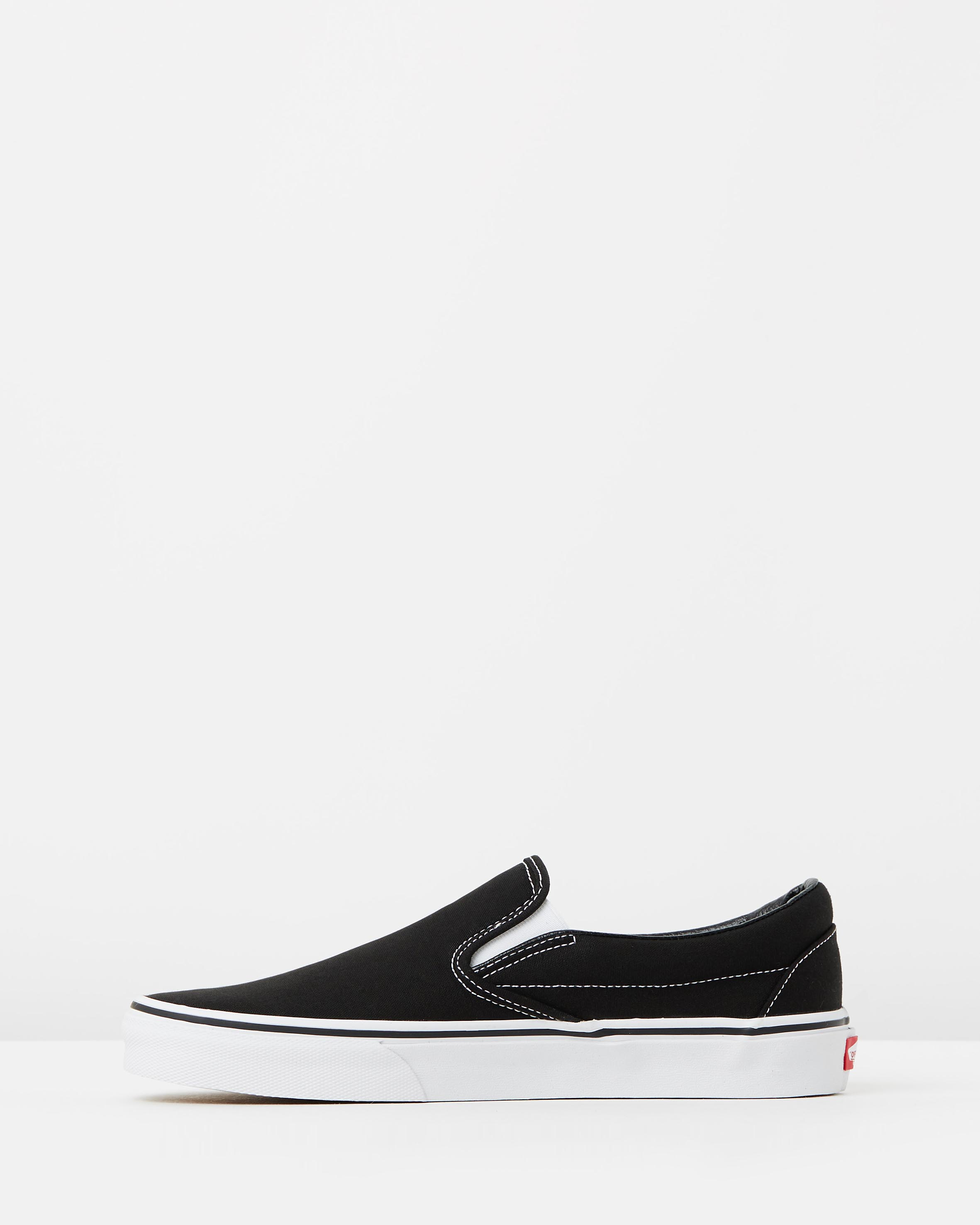vans black womens slip ons