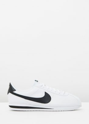 Nike Cortez Basic Leather White Black Metallic Silver 1