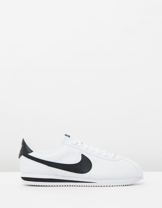 Nike Cortez Basic Leather White Black Metallic Silver 1