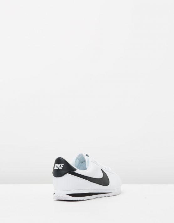 Nike Cortez Basic Leather White Black Metallic Silver 2