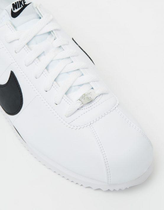 Nike Cortez Basic Leather White Black Metallic Silver 4