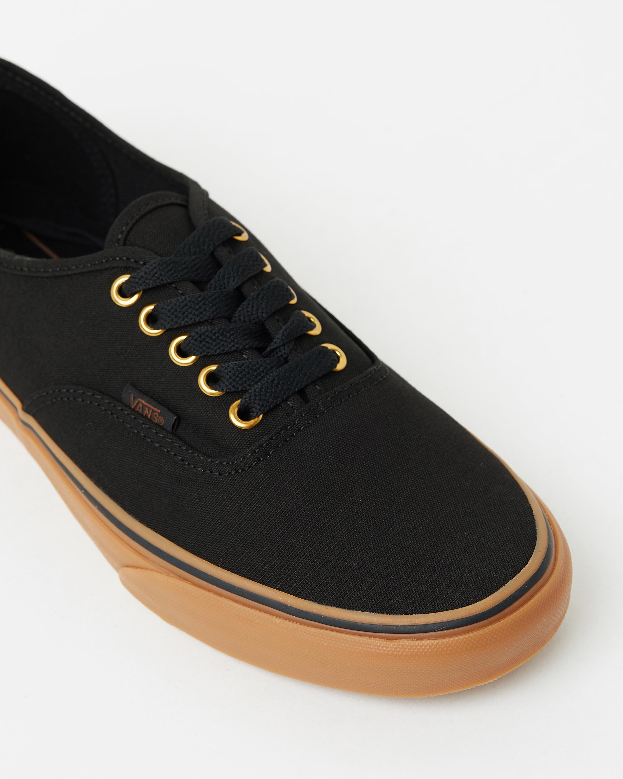 ... Vans Authentic Black Rubber Mens Trainers 4 821c41e9d4
