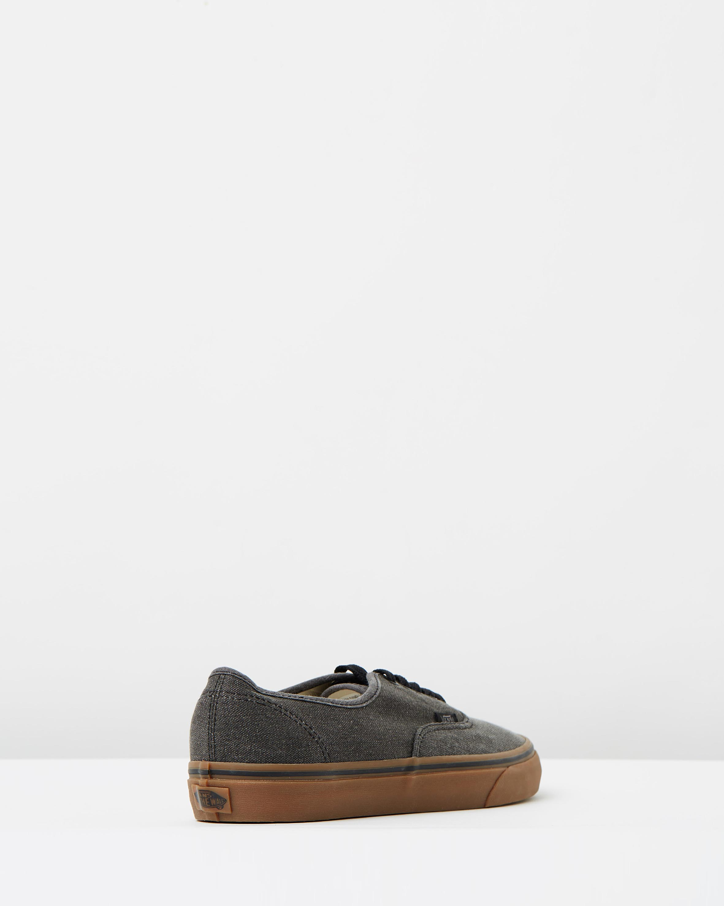 7dd07a820b ... Vans Authentic Washed Canvas Black Gum Mens Trainers 2 ...