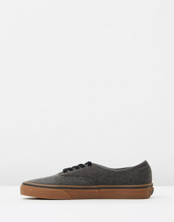 Vans Authentic Washed Canvas Black Gum Mens Trainers 3