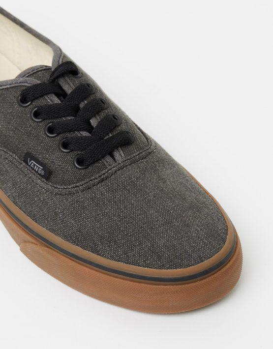 Vans Authentic Washed Canvas Black Gum Mens Trainers 4