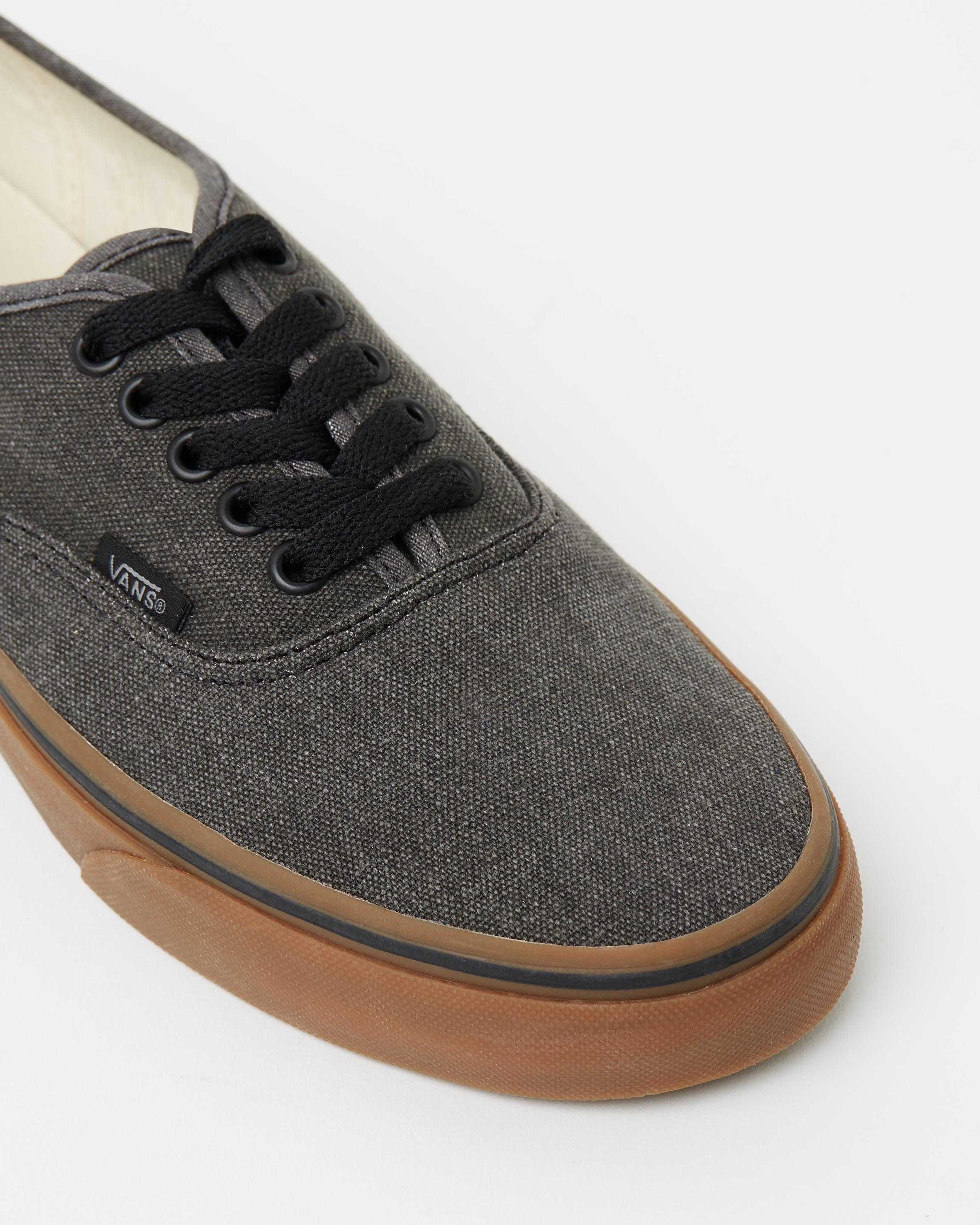 Vans Authentic Washed Canvas Black & Gum Mens Sneakers
