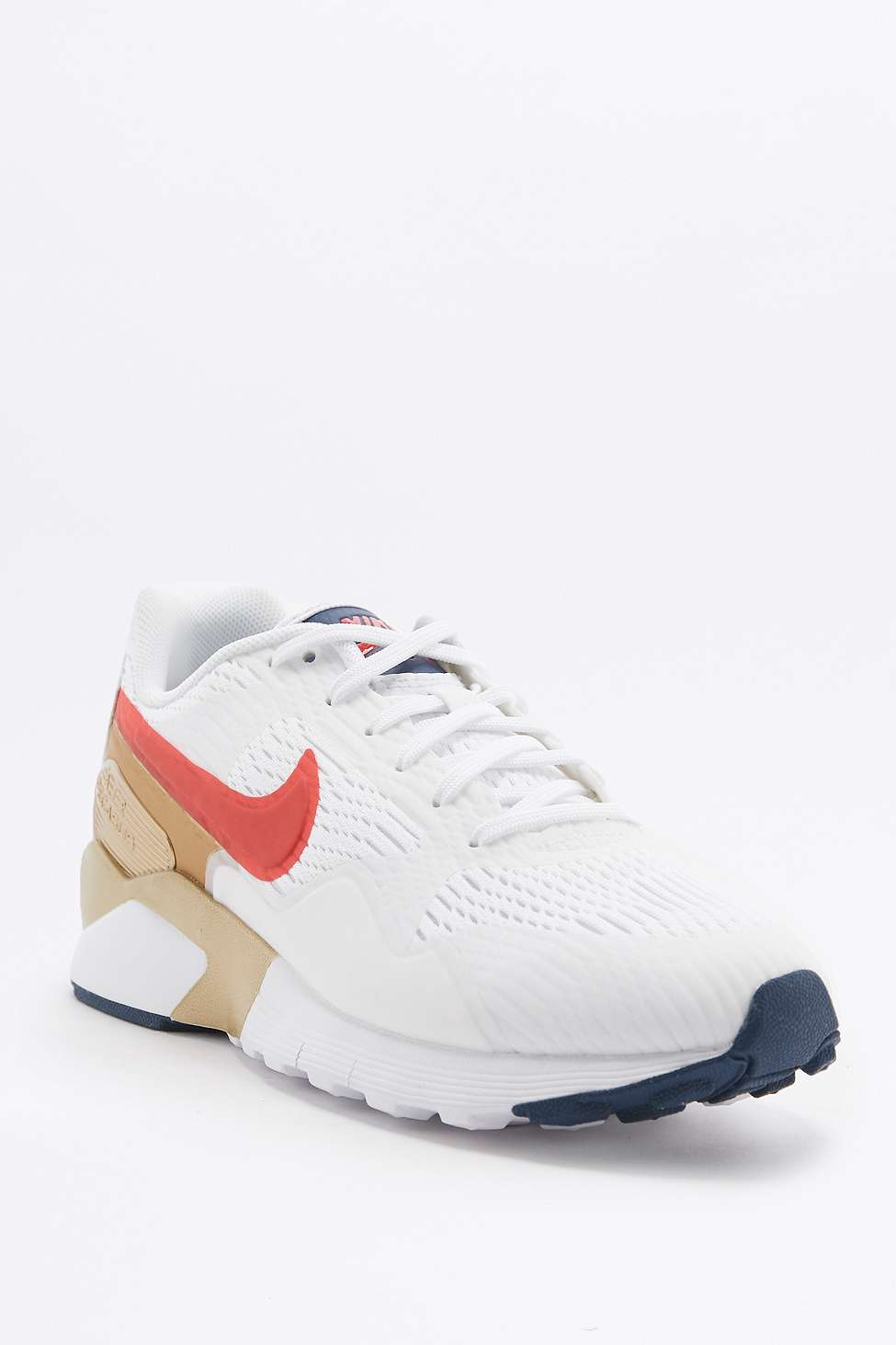 Nike Air Pegasus 92 Red, Gold, and Blue Sneakers