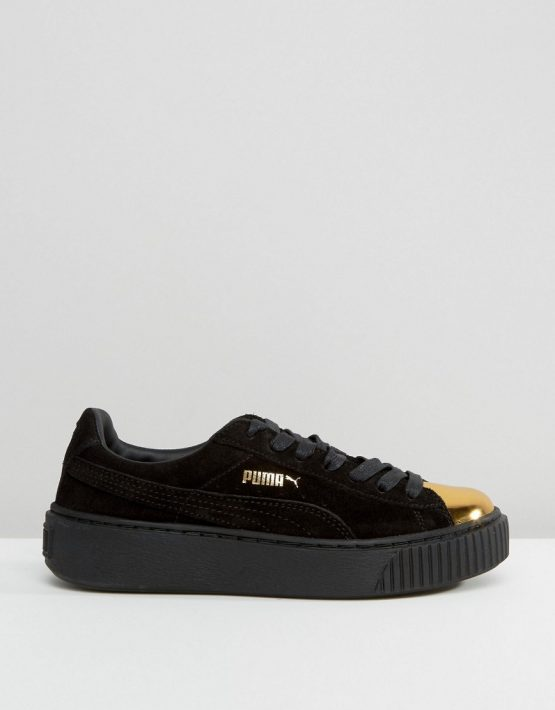 Puma Suede Platform Sneakers In Black With Gold Toe Cap 2
