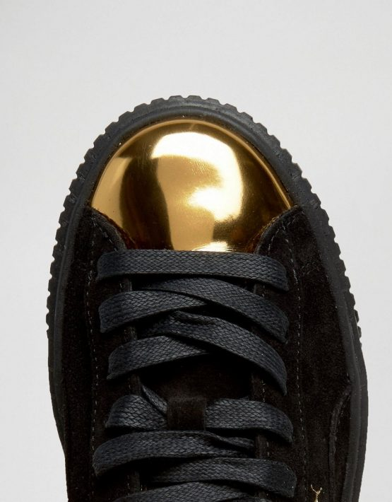 Puma Suede Platform Sneakers In Black With Gold Toe Cap 3