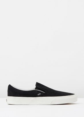 Vans Womens Classic Slip On Black Suede Trainers 1