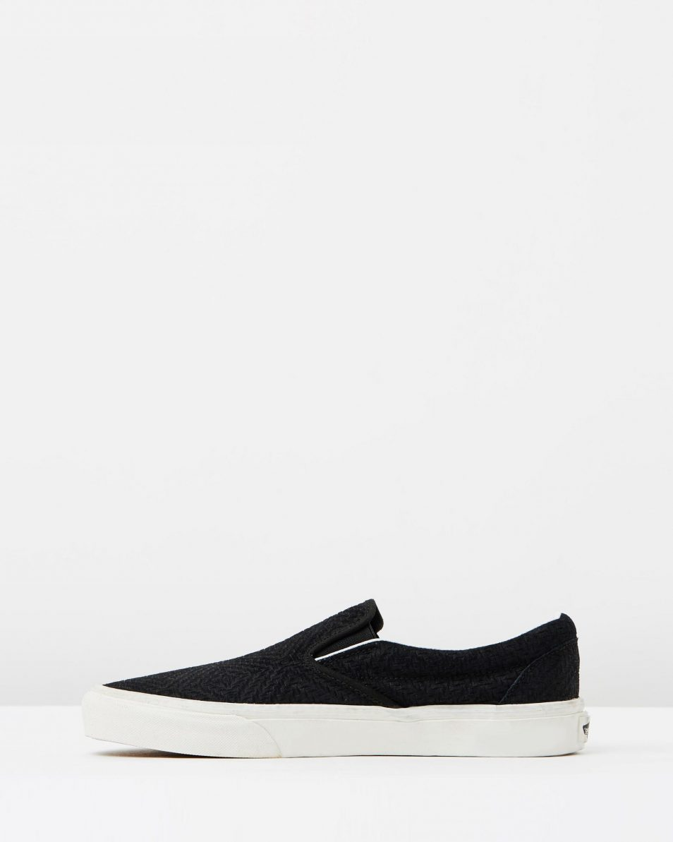 Vans Womens Classic Slip On Black Suede Trainers 3