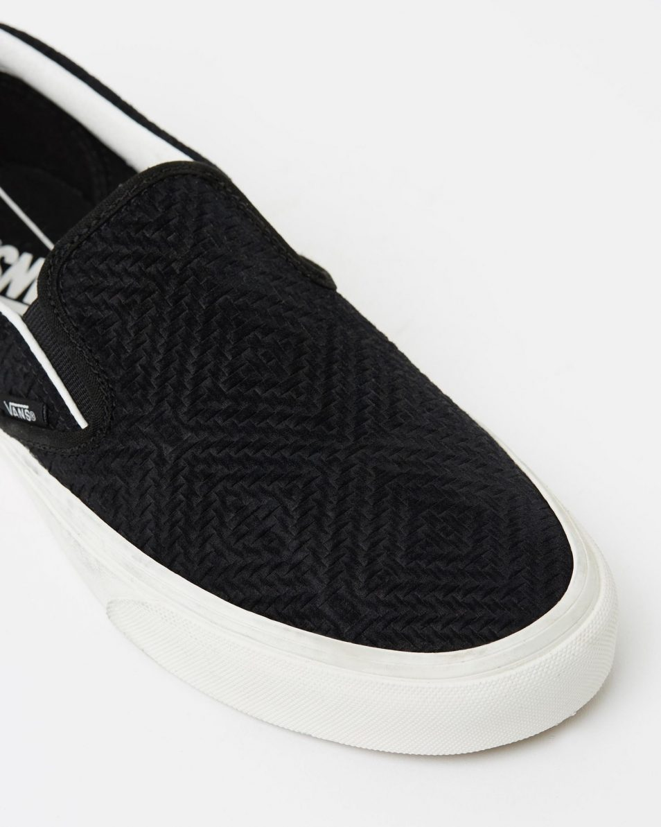 Vans Womens Classic Slip On Black Suede Trainers 4