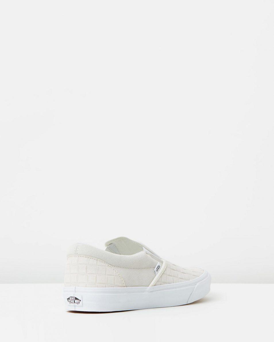 Vans Womens Classic Slip On Suede Checkers Blanc De Blanc 2