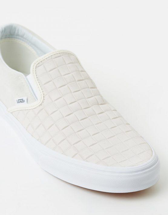 Vans Womens Classic Slip On Suede Checkers Blanc De Blanc 4