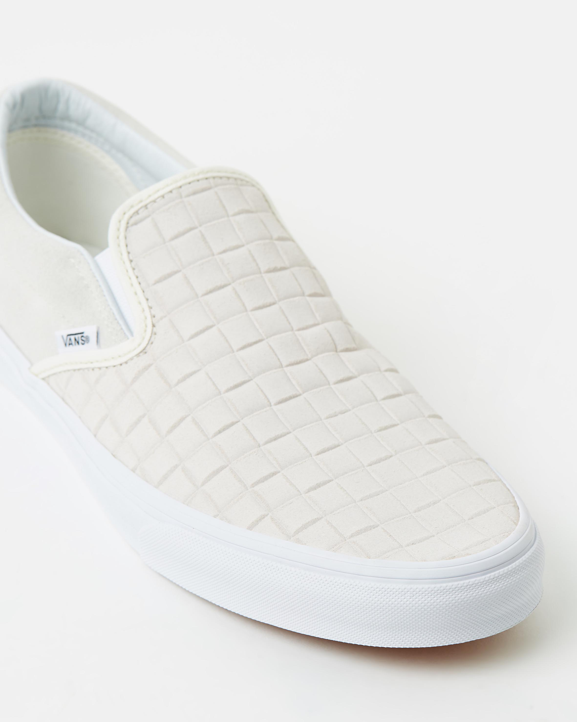 Vans Womens Classic Slip-On Suede Checkers Blanc De Blanc
