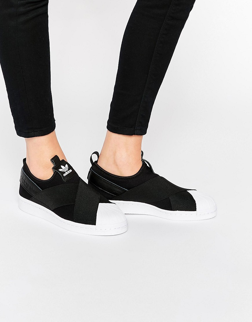 adidas Originals Black Superstar Slip On Trainers