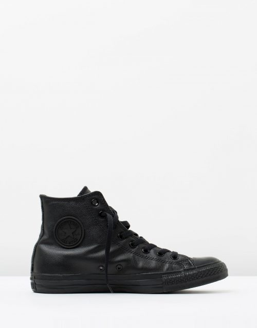 Converse Mens Chuck Taylor All Star Hi Black Monochrome Leather 1