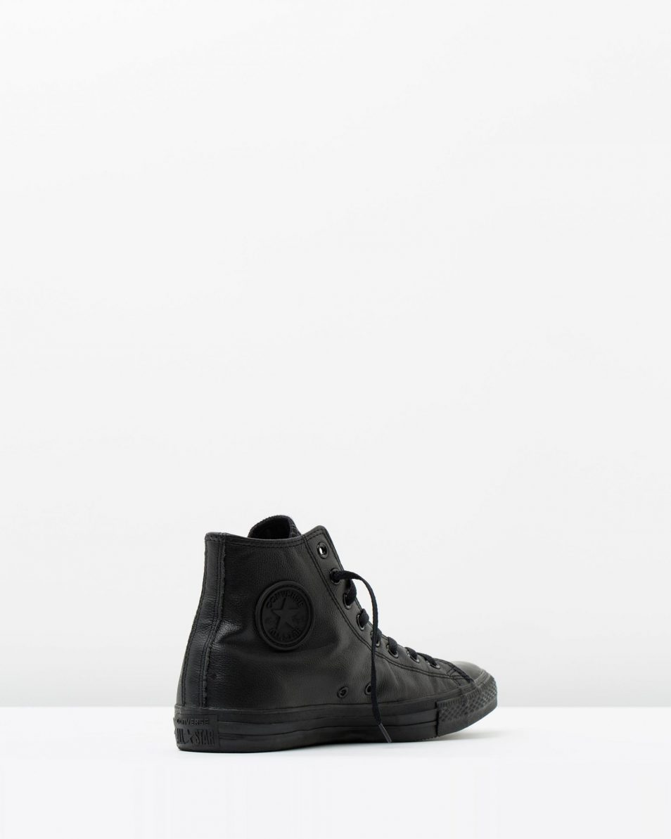Converse Mens Chuck Taylor All Star Hi Black Monochrome Leather 2