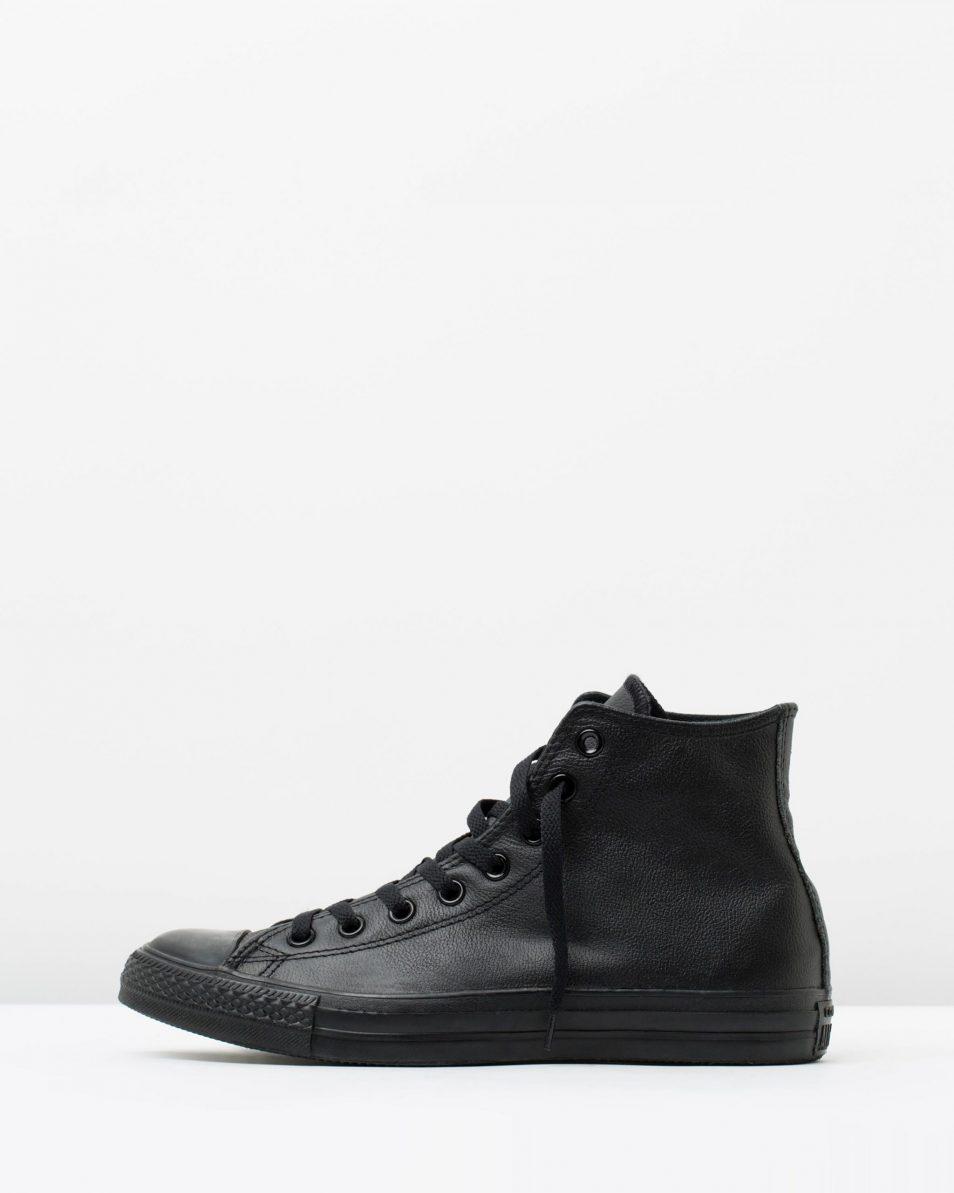 Converse Mens Chuck Taylor All Star Hi Black Monochrome Leather 3