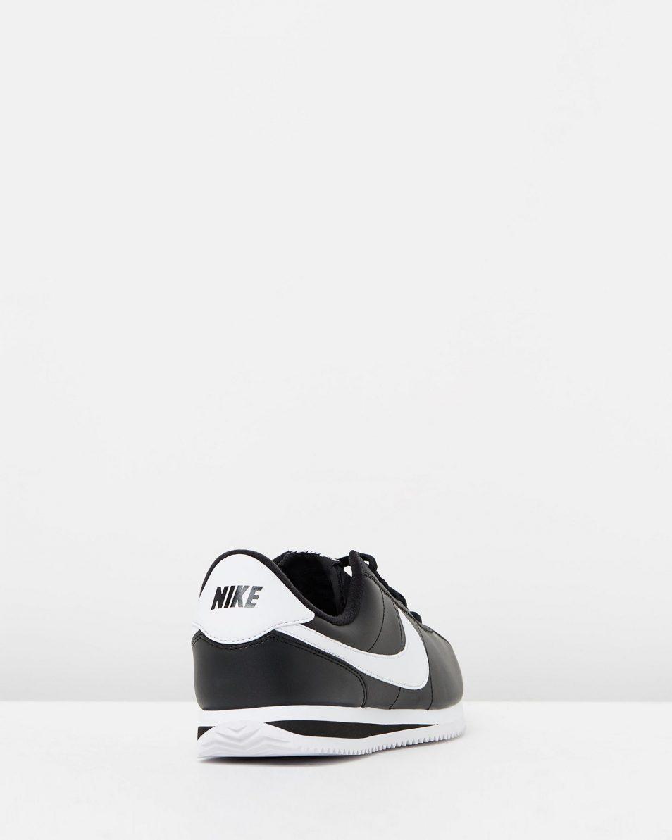 Nike Cortez Basic Leather Black White 2