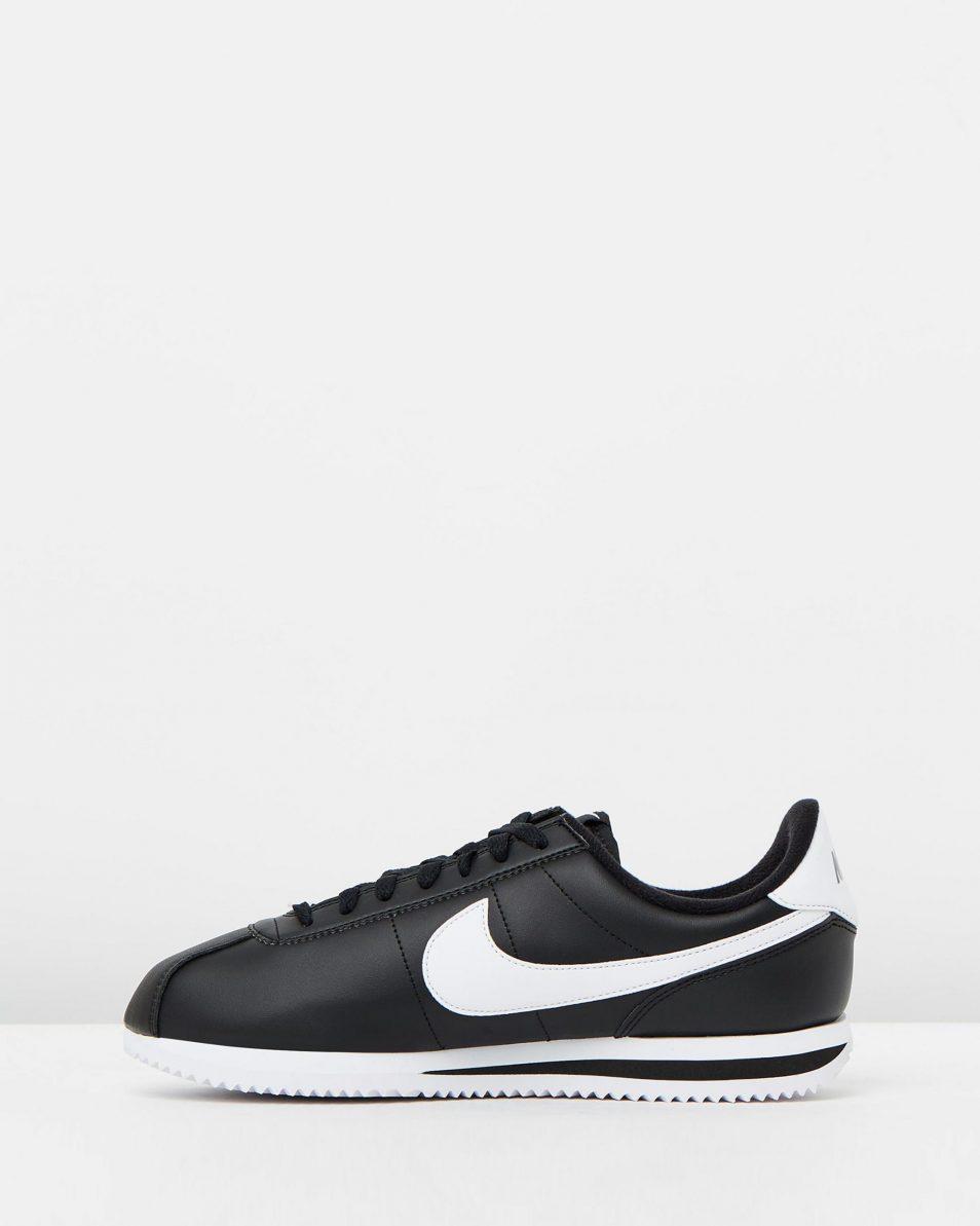 Nike Cortez Basic Leather Black White 3