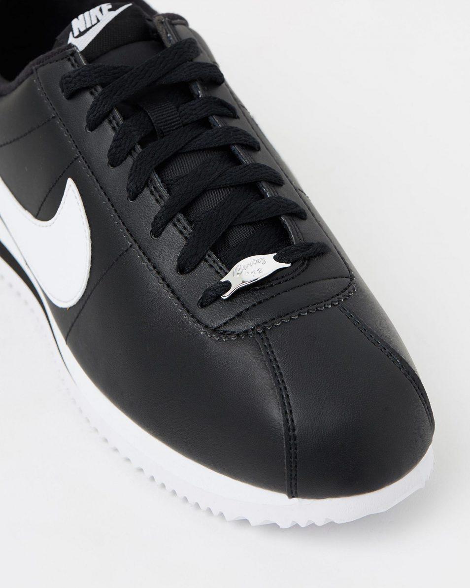 Nike Cortez Basic Leather Black White 4