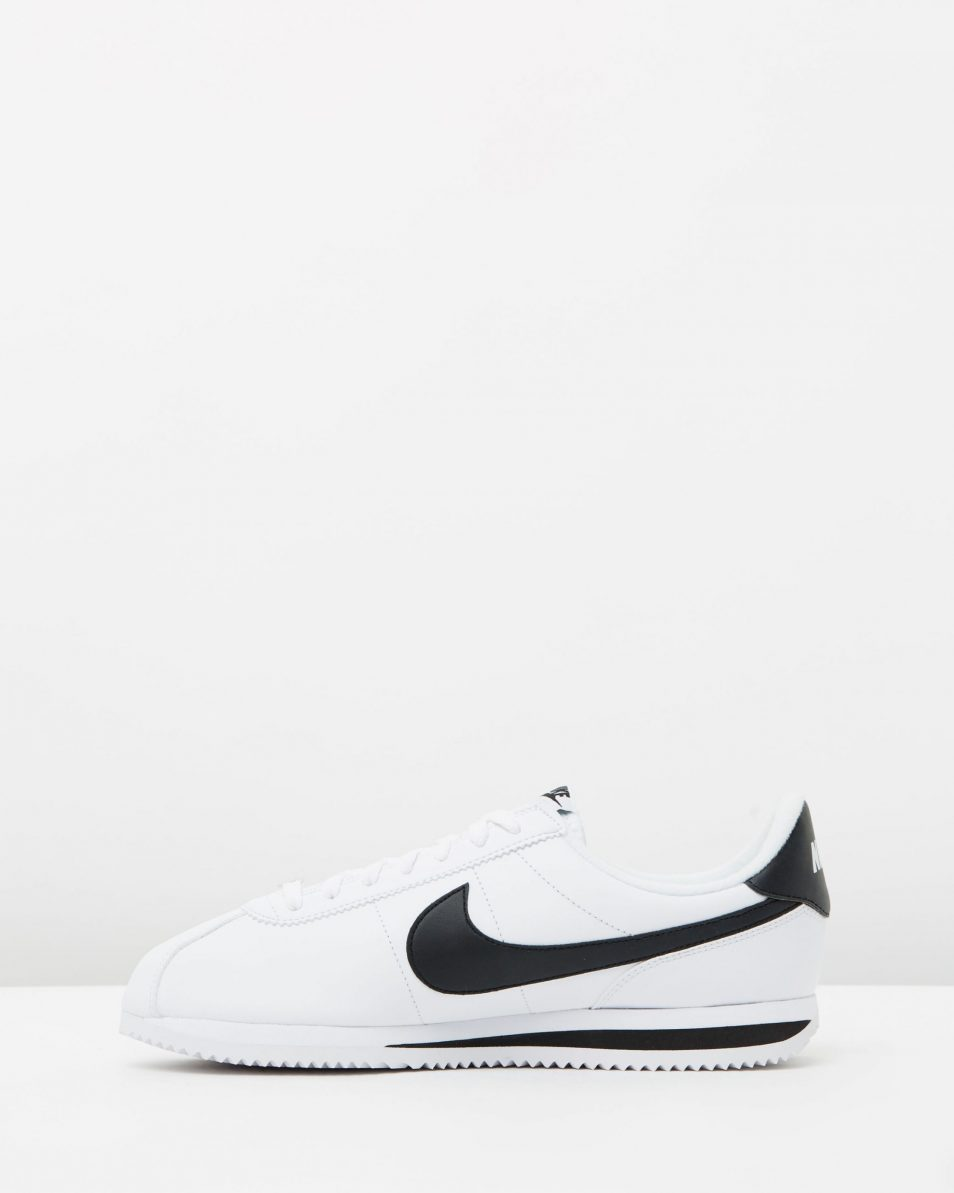 Nike Cortez Basic Leather White Black Metallic Silver 3
