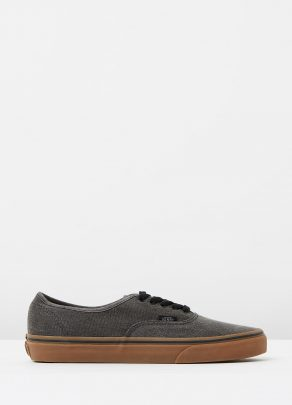 Vans Authentic Washed Canvas Black Gum Mens Trainers 1